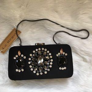 La Regale NWT black small clutch purse rhinestones